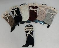 Knitted Boot Cuffs [Antique Lace Bow]
